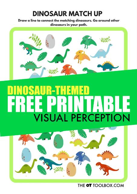 Free Visual Perception Printable Dinosaur Theme