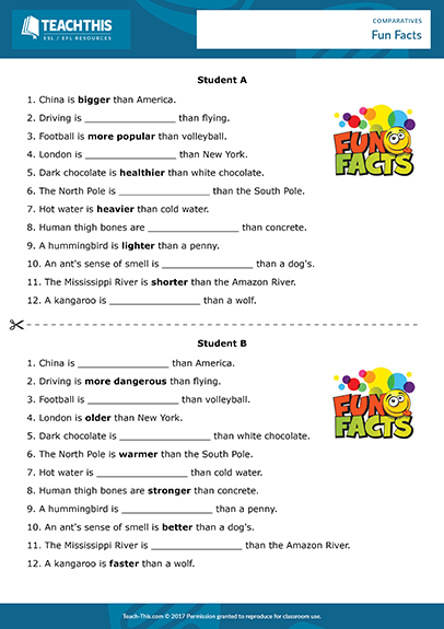 Comparative Adjectives Esl Activities Games Worksheets