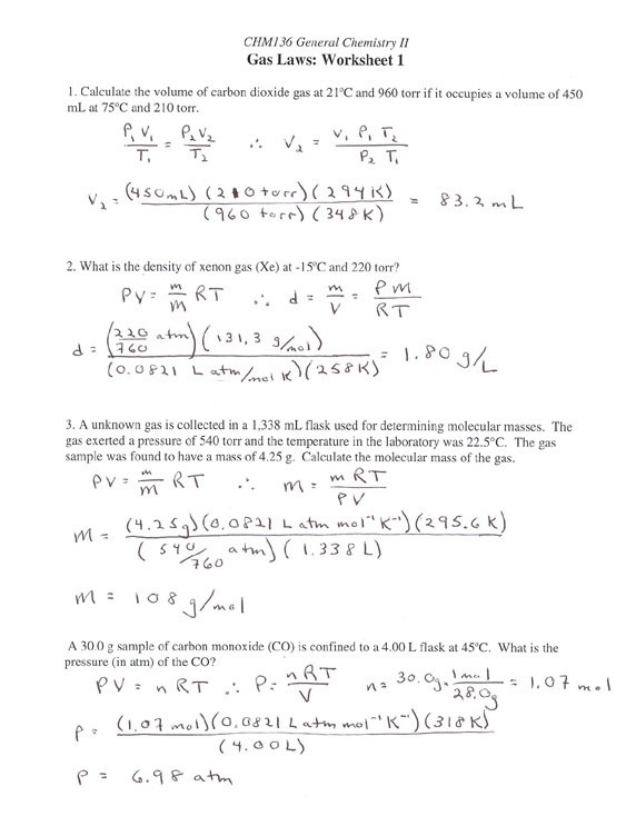 Gas Laws Worksheet 1 Answer Key Following Directions Worksheet
