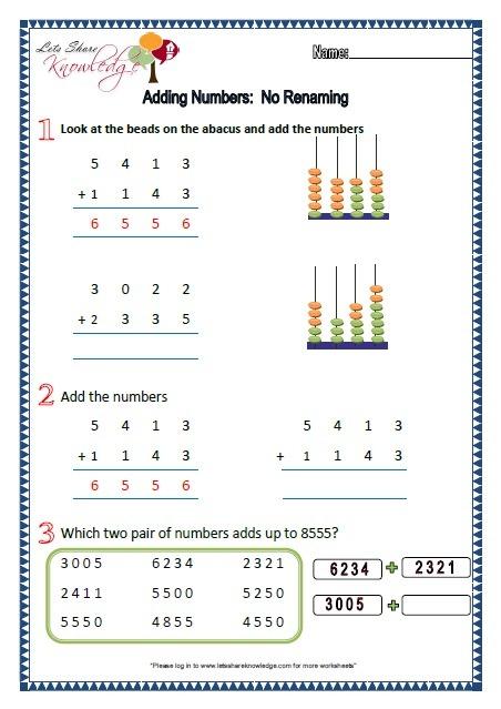 Grade 2  Maths Worksheets Part 1