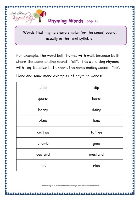 Grade 3 Grammar Topic 32  Rhyming Worksheets