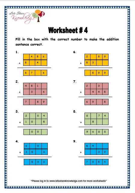 Grade 3 Maths Worksheets  Addition (3 1 Addition Of 4 Digit