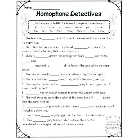 Homophones Worksheets For Grade 3 Snapshot Image Of Homophone