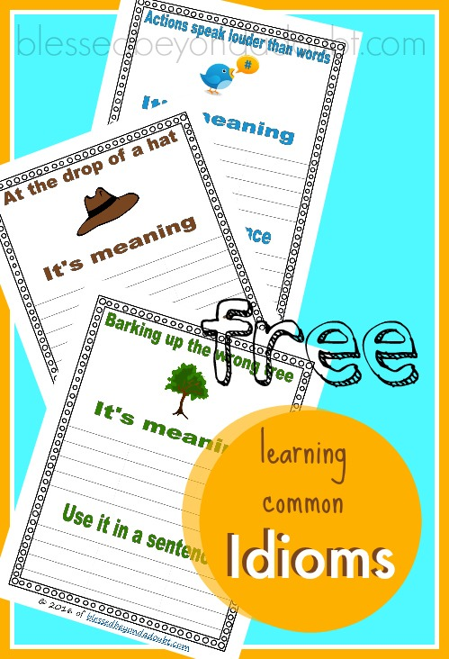 Free Learn Idioms Worksheets