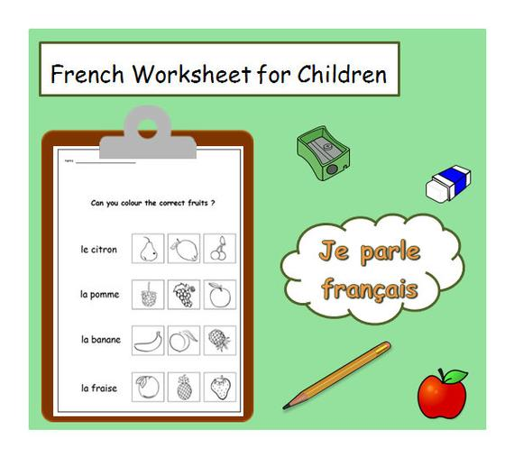 French For Kids Fruits Words Language Worksheet   Kids