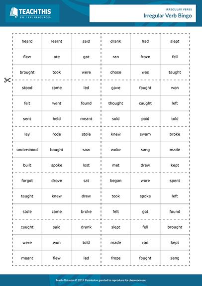 Irregular Verbs Games Esl Activities Worksheets