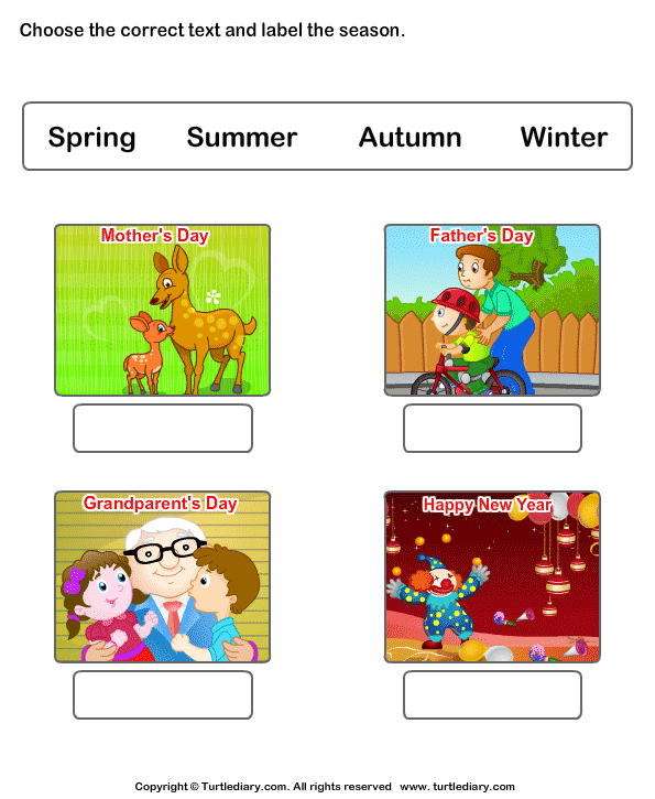 Kids Seasons Worksheets Worksheet