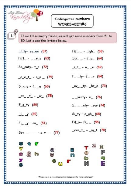 Kindergarten Fill In The Blanks Printable Worksheets
