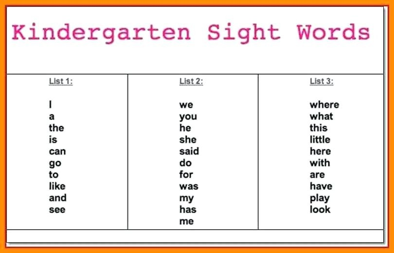 Kindergarten Spelling Words List Awesome Free Kindergarten