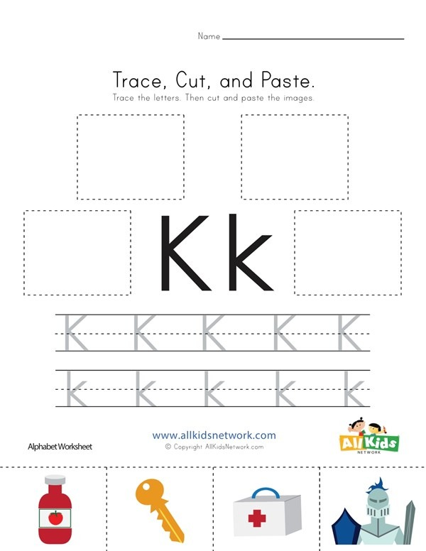 Trace, Cut And Paste Letter K Worksheet
