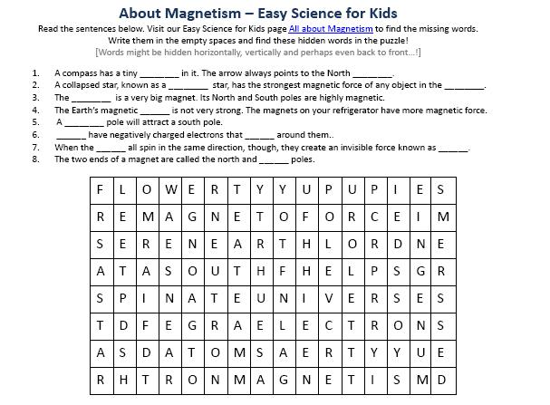 Printables  Magnetism Worksheet  Lemonlilyfestival Worksheets