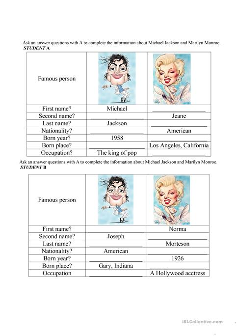 Marilyn Monroe And Michael Jackson Worksheet