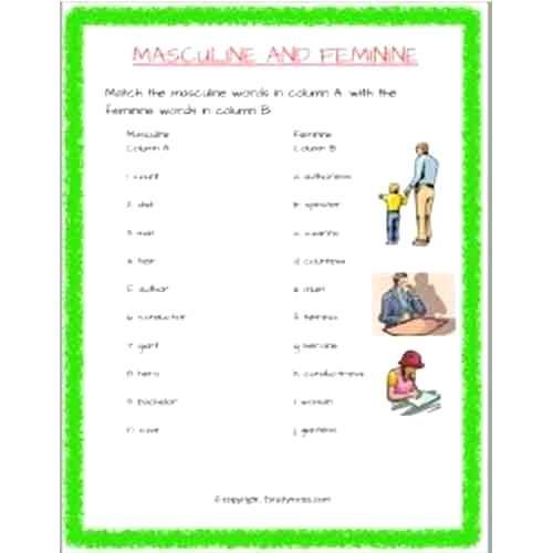 Masculine And Feminine Match The Following Worksheet 2 Grade