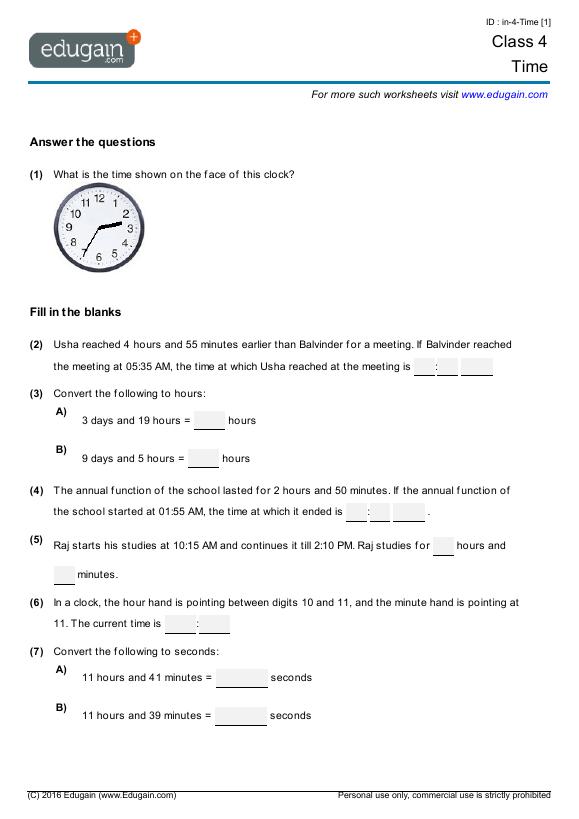 Math Worksheets Telling Time Grade 4
