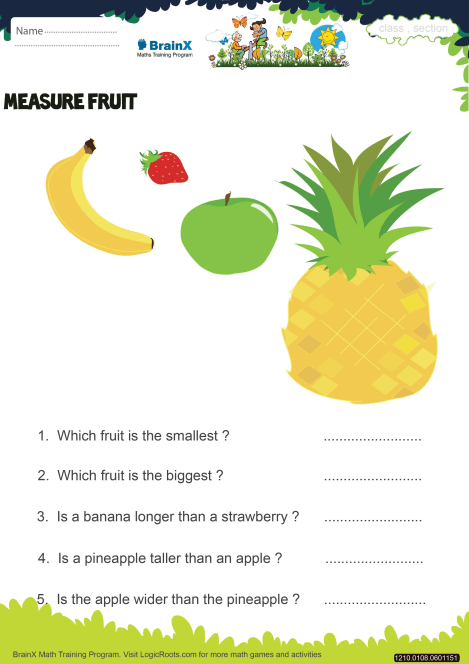 Measure Fruit Math Worksheet For Grade 1