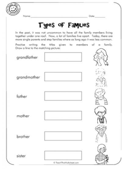 Members Of The Family Worksheet For Kindergarten Printable Family