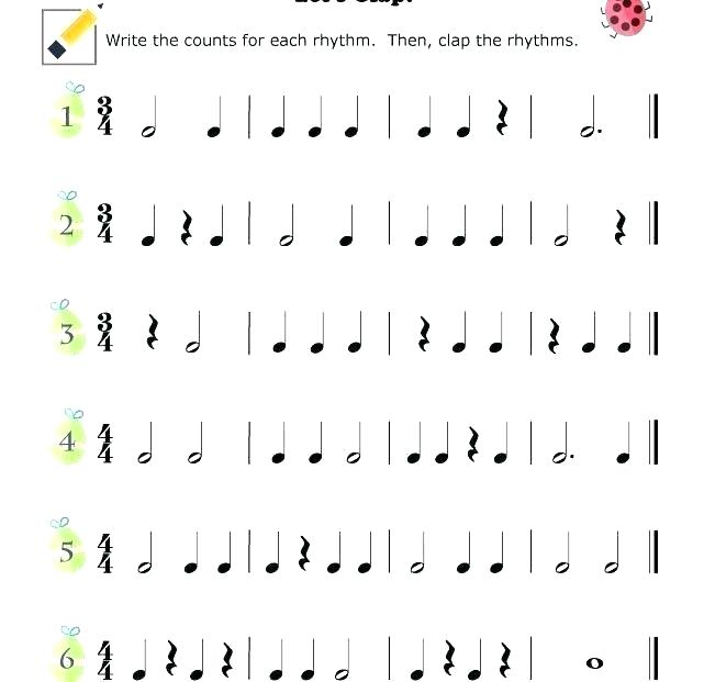 Music Worksheets Rhythm Inside Math Printable Middle School