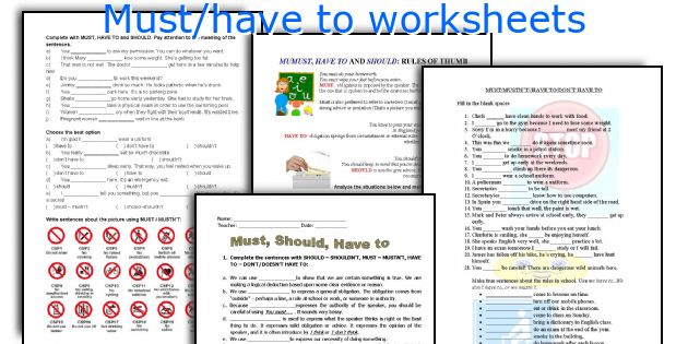 Must Have To Worksheets