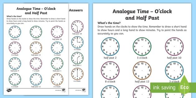 Analogue Time O'clock And Half Past Worksheet   Worksheet