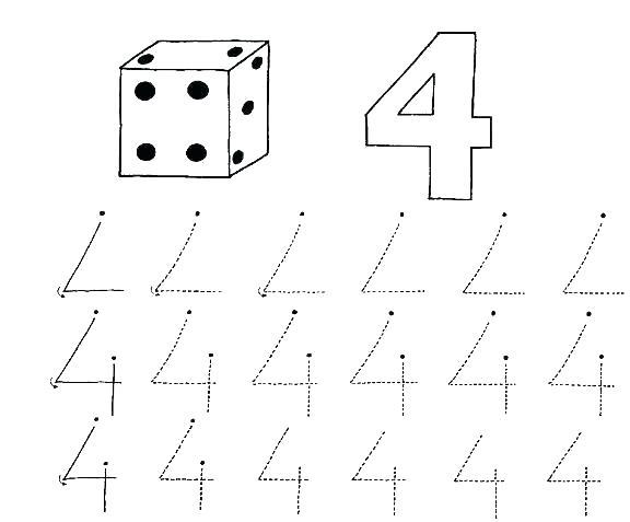 Number 4 Tracing Worksheets For Kindergarten Preschool Numbers