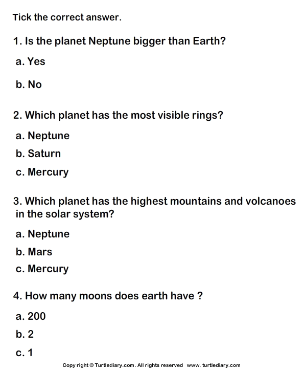 Our Solar System Worksheet