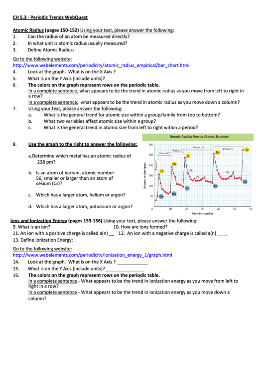 Top 9 Periodic Trends Worksheet Templates Free To Download In Pdf
