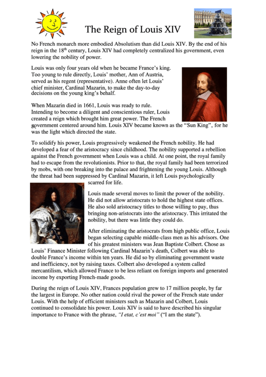 The Reign Of Louis Xiv History Worksheets Printable Pdf Download