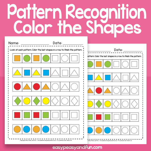 Color The Shapes Pattern Recognition Worksheets – Easy Peasy And