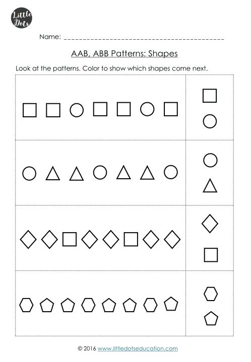 Patterns Worksheets For Kindergarten Abb Pattern Worksheets Abb
