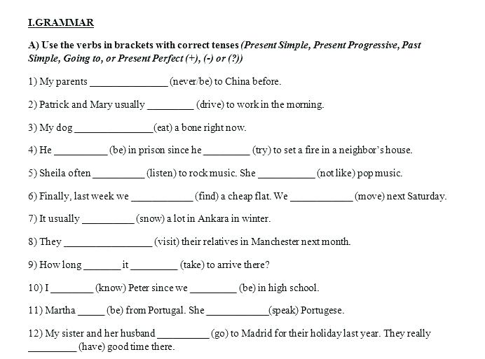 Perfect Verb Tense Worksheets 5th Grade Verb Tense Worksheets