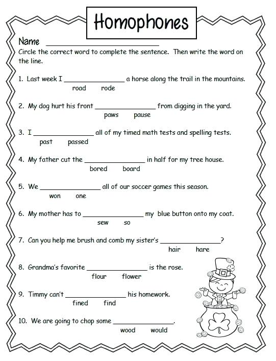 Homonyms Worksheets 3rd Grade