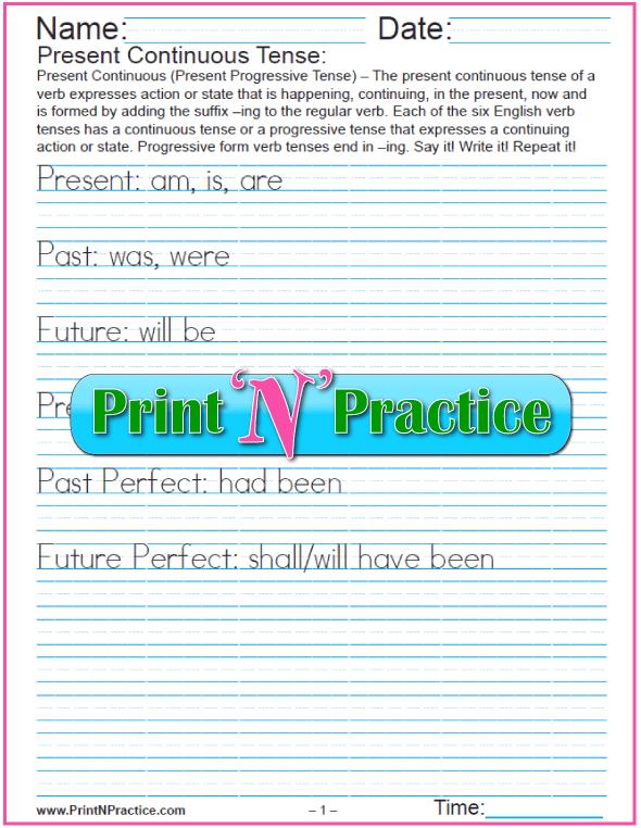 Verb Tenses Worksheets  Past, Present, Future  Simple, Perfect