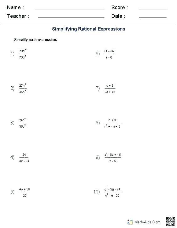 High School Algebra 2 Worksheets