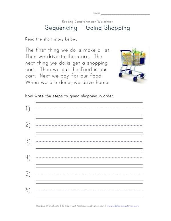 Sequencing Reading Comprehension Worksheet