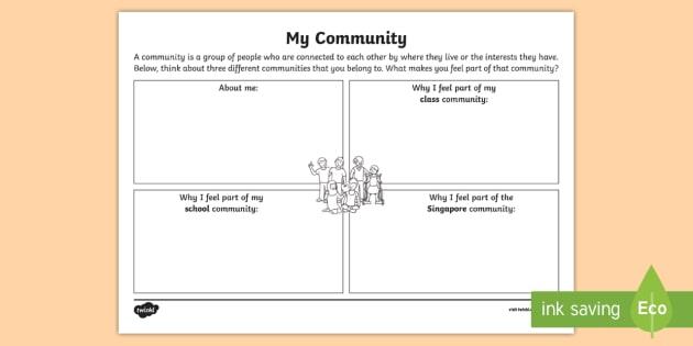 My Community Worksheet   Worksheet