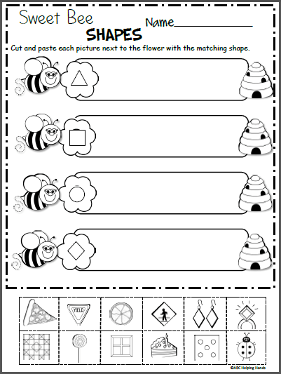 Shape Worksheet Kindergarten Sweet Bee Shapes Free Kindergarten