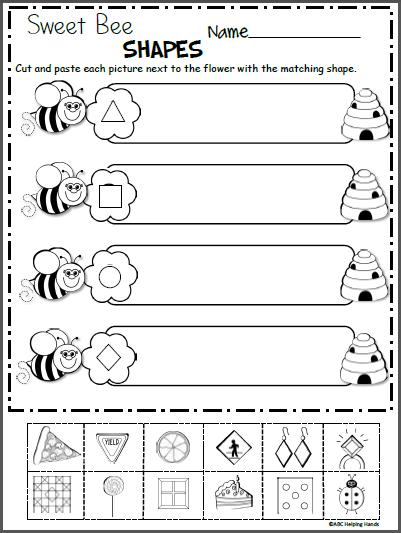 Shape Worksheet Kindergarten Sweet Bee Shapes Free Kindergarten