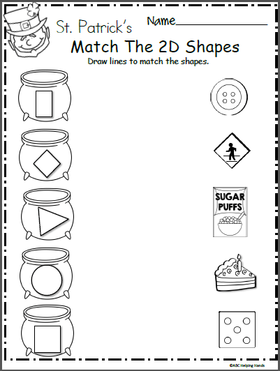 Free St  Patrick's Day Shape Worksheet