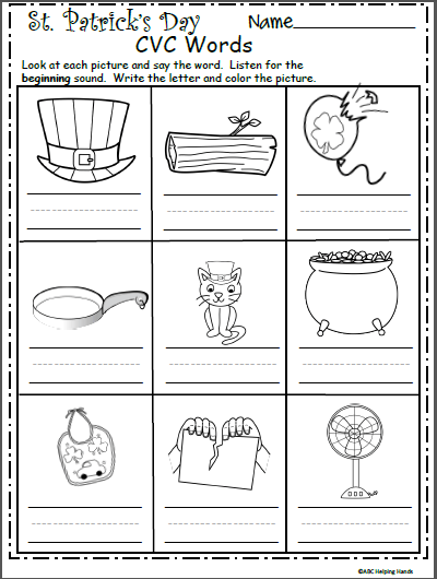 St  Patrick's Day Cvc Words Worksheet For Kindergarten