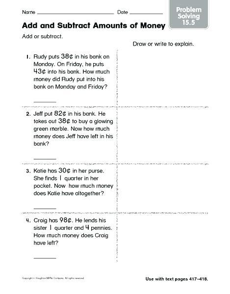 Subtracting Money Worksheets 3rd Grade Relate Fractions Decimals
