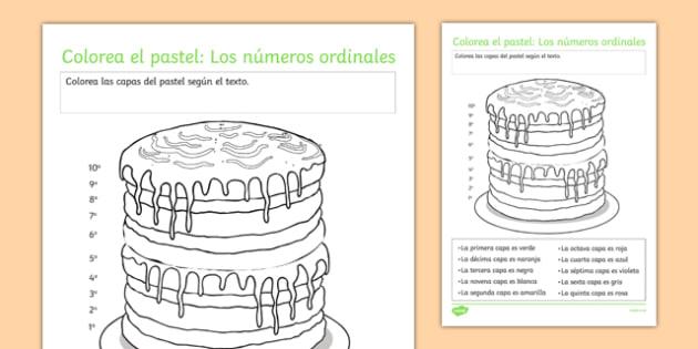 Colorea El Pastel  Los Números Ordinales Ordinal Numbers Worksheet
