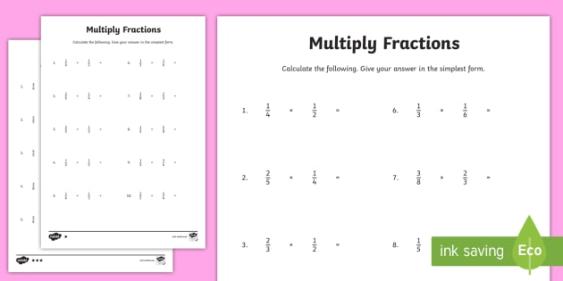 Year 6 Multiply Fractions Worksheet   Worksheet