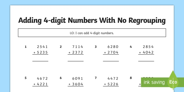 No Regrouping, Adding 4 Digit Numbers No Carrying