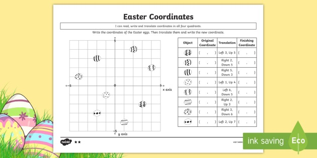 New   Uks2 Maths Easter Four Quadrant Coordinates And Translations