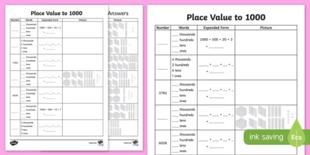Place Value To 4 Digits Worksheet   Worksheet