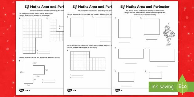 Elf Area And Perimeter Differentiated Worksheet   Worksheets