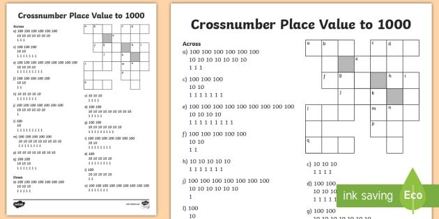 Lks2 Crossnumber Place Value To 1000 Worksheet   Worksheet