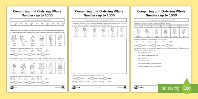 Comparing And Ordering Whole Numbers Up To 1000 Differentiated