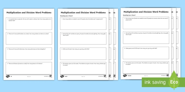 Differentiated Multiplication & Division Word Problems Worksheet