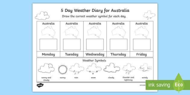5 Day Weather Diary For Australia Worksheet   Worksheet